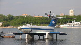 A ground effect vehicle, the A-90 Orlyonok at the Museum of the Navy, Moscow