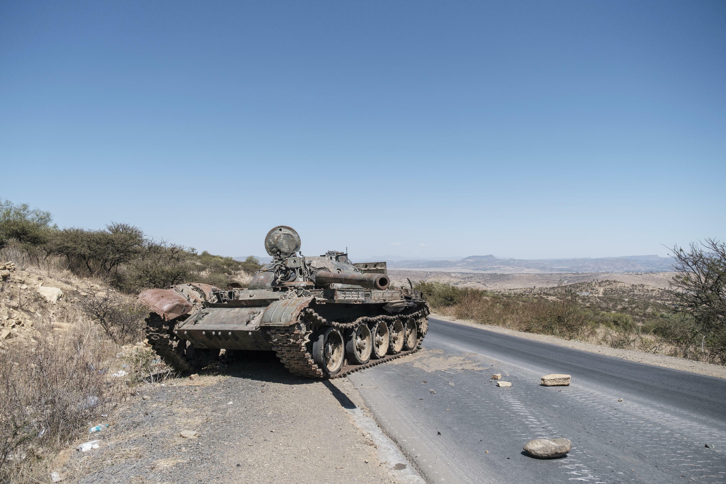 Fighting: A damaged tank pictured on a road north of Mekele, the capital of Tigray, in February