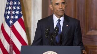 """2016年6月14日,美国总统奥巴马表示,伊斯兰国组织处于""""守势""""。"""