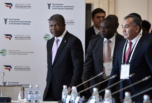Presidente angolano, João Lourenço, no Fórum empresarial russo-angolano em Moscovo a 3 de Abril de 2019