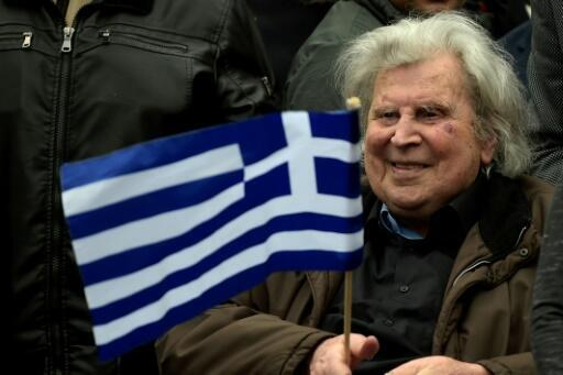 El compositor griego Mikis Theodorakis durante una manifestación en Atenas el 4 de febrero de 2018