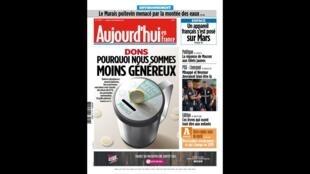 Capa do jornal Aujourd'hui en France desta terça-feira, 27/11/2018
