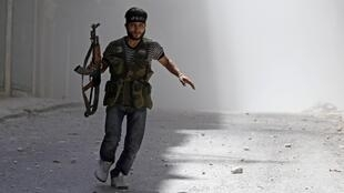A Free Syrian Army fighter in Aleppo on Sunday