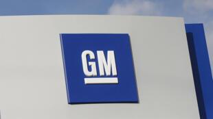 Le logo de General Motors visible à Warren dans le Michigan aux Etats-Unis.