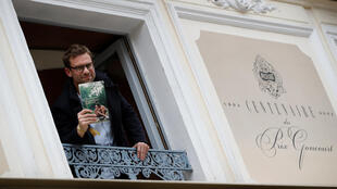 Nicolas Mathieu at the Drouant restaurant after receiving the Prix Goncourt