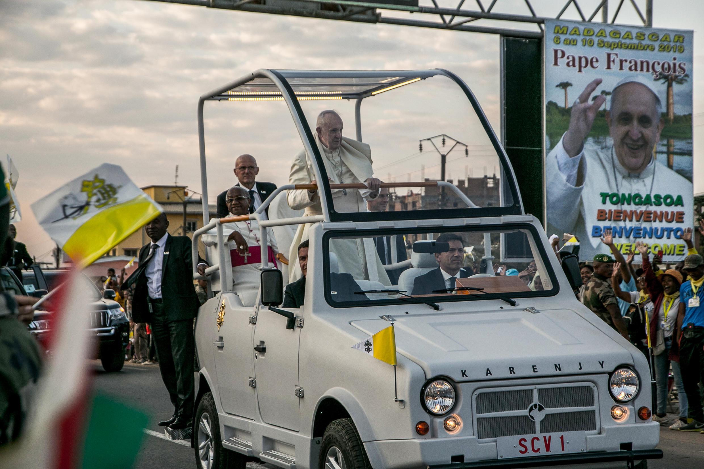Pope Francis in Madagascar, 7 September 2019, in locally made pope mobile Karenjy Mazana II