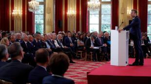 Emmanuel Macron lors d'un précédent discours dans la grande salle des fêtes de l'Élysée. (Photo d'illustration)