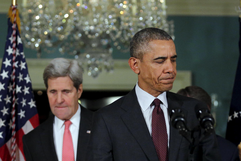 Le président américain Barack Obama et son secrétaire d'Etat John Kerry, lors d'un discours jeudi 25 février, après une réunion avec le Conseil de sécurité de l'ONU.