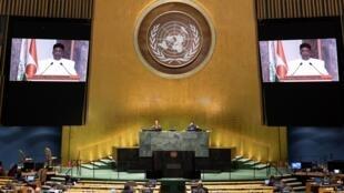 Le président du Niger, Mahamadou Issoufou, lors de son discours pré-enregistré durant l'Assemblée générale de l'ONU.
