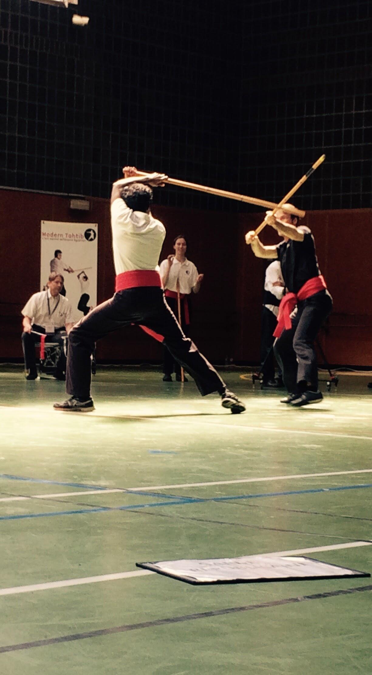 Tahtib combatants at a tournament in Paris