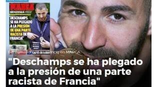 Detalle de la portada de Marca con la entrevista a Benzema.