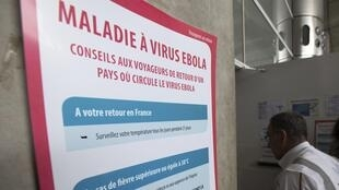 An Ebola warning sign at Charles de Gaulle airport, Paris