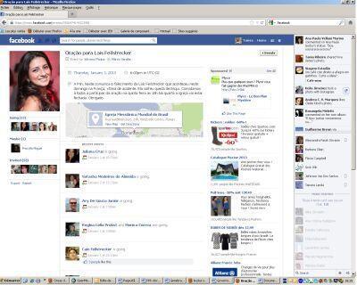 Página criada no Facebook convocando para uma missa em homenagem à estudante