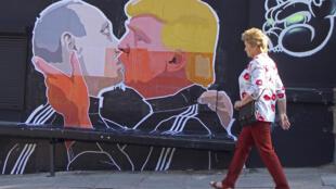 Putin và Trump, một cảnh trên tường ở thủ đô Vilnius, Litva, 13/05/2016.
