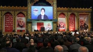 "Hassan Nasrallah advertiu que tropas norte-americanas iam ""pagar"" pela morte do general Qassem Soleimani e Abou Mehdi al-Mouhandis,"