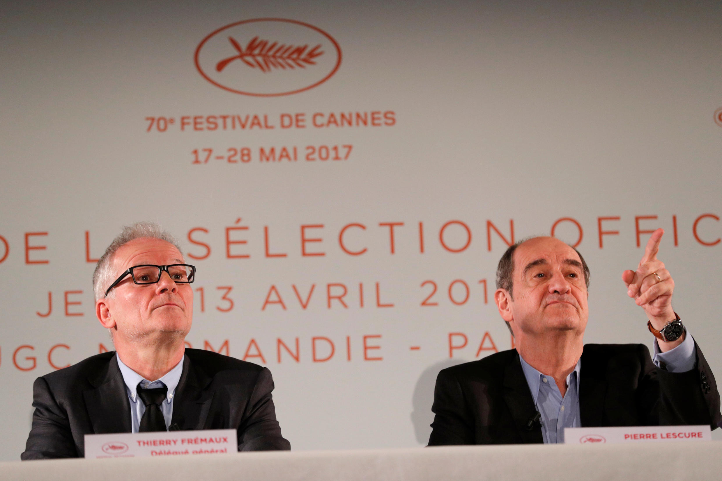 Cannes Festival director Thierry Frémaux (L) and Festival President Pierre Lescure, at a press conference in 2017
