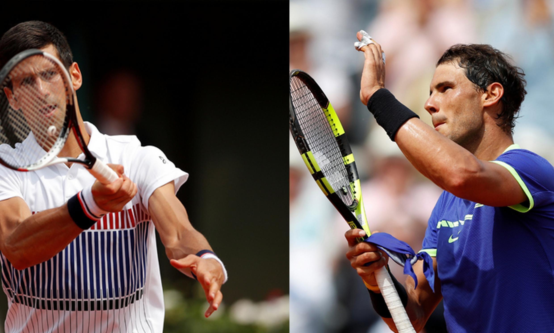 Em Roland Garros, o sérvio Novak Djokovic (esq.), número 2 do mundo e atual campeão de Roland Garros e o espanhol Rafael Nadal passam fácil para a segunda rodada.