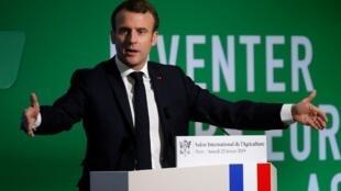Emmanuel Macron lors de son discours à l'ouverture du Salon de l'agriculture, porte de Versailles, a prononcé un plaidoyer pour une réforme de la PAC, le 23 février 2019.