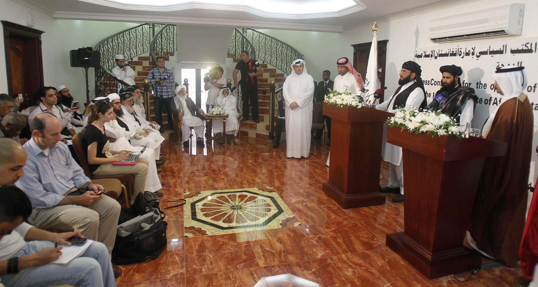 Ouverture du bureau politique des talibans à Doha, au Qatar, mardi 18 juin 2013.