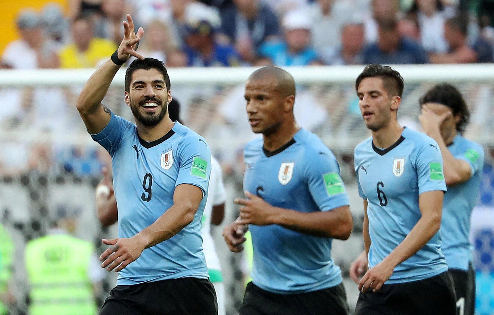 Luis Suarez celebra el unico gol frente a Arabia saudita con el que Uruguay sacaba su billete a octavos de final del mundial de Risia 2018.