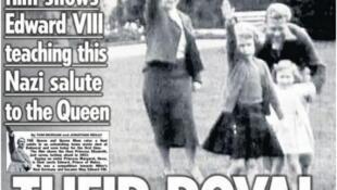 Rainha Elizabeth, na época com seis anos, aparece junto à mãe, a irmã e o tio, fazendo a saudação nazista.