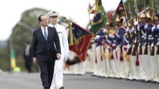 O presidente François Hollande em visita ao Brasil