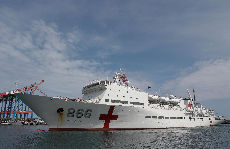 Tàu bệnh viện của Hải Quân Trung Quốc cập cảng la Guaira, Venezula, ngày 22/09/2018