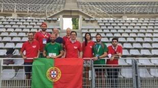Primeira participação de Portugal nos Gay Games de Paris, no estádio Sébastien Charléty