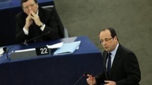 O presidente François Hollande fez um discurso no Parlamento europeu nesta terça-feira, 05 de fevereiro de 2013.