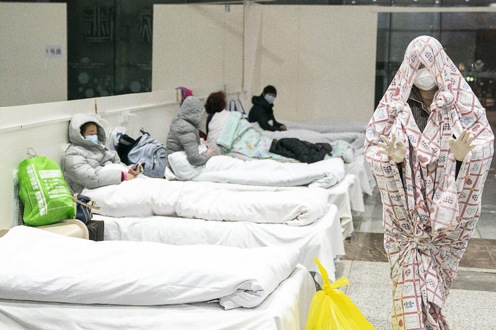 Một trung tâm hội nghị triển lãm được chuyển thành bệnh viện ở Vũ Hán ngày 05/02/2020.