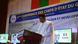 Le président du Niger, Mahamadou Issoufou, prononce un discours lors d'un sommet du G5 Sahel à Niamey, Niger, le 6 février 2018.