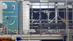 Broken windows at Bruxelles-Zaventem airport after the blasts