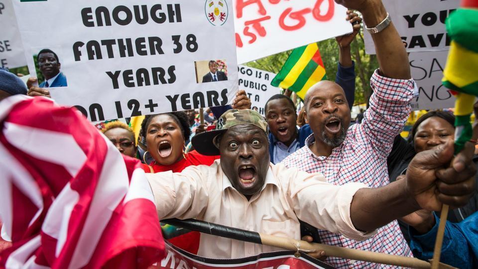 Wasu 'yan Togo da ke adawa da mulkin shugaban kasar Faure Gnassingbé.