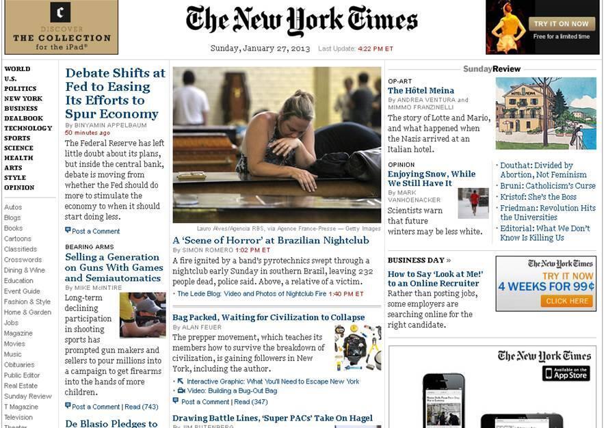 O jornal norte-americano The New York Times deu destaque ao incêndio na primeira página de seu site nesse domingo.