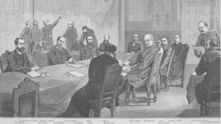 La conférence de Berlin, en décembre 1884, dessin.