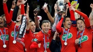 Rennes celebrate their historic victory since the 1971 French Cup, Stade de France on 27 April 2019.