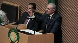 Palestinian Prime Minister Mohammad Shtayyeh addresses the opening of the 33rd Ordinary Session of the Assembly of the Heads of State and the Government of the African Union (AU) in Addis Ababa, Ethiopia, February 9, 2020.