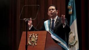 Jimmy Morales en su primer discurso como presidente de Guatemala.