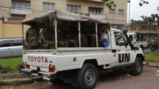 Un véhicule de la Monusco à Kinshasa en RDC.