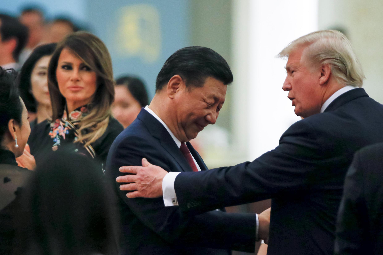Xi Jinping et Donald Trump lors d'un dîner d'Etat à Pékin, le 9 novembre.