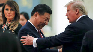 Chủ tịch Trung Quốc Tập Cận Bình và tổng thống Mỹ Donald Trump tại Đại Lễ Đường Nhân Dân, Bắc Kinh, ngày 09/11/2017.