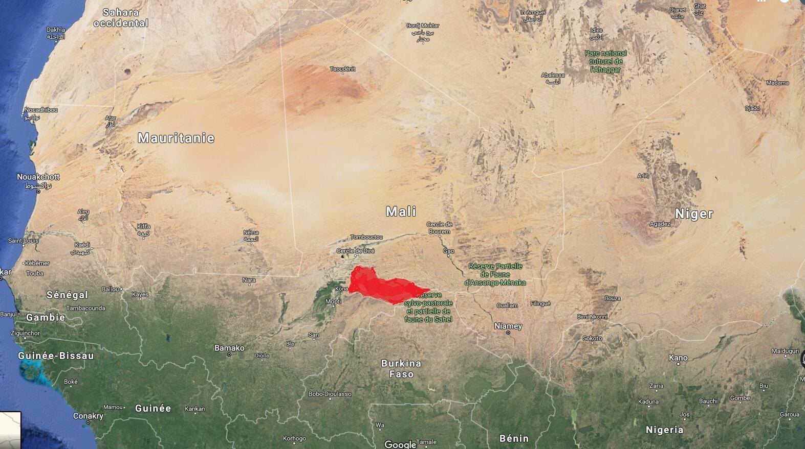 Em vermelho, a região no centro do Mali onde teriam se enraizado os jihadistas próximos da rede terrorista Al Qaeda.