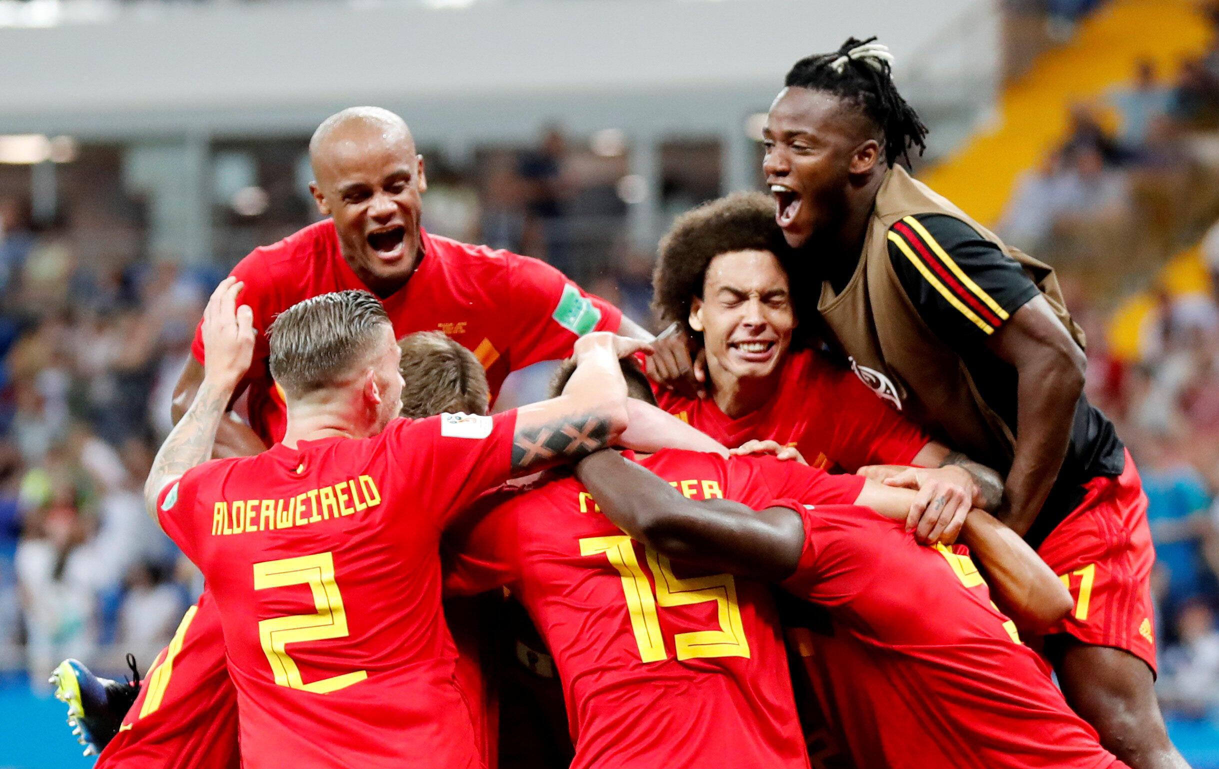 Les Belges après leur qualification pour les quarts de finale du Mondial 2018.