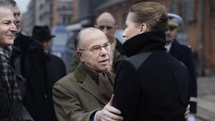 Danish Justice Minister Mette Frederiksen (R) meets French Interior Minister Bernard Cazeneuve at Krudttoenden in Oesterbro February 15, 2015.