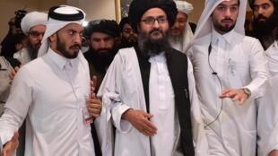 Mjumbe mkuu wa Taliban katika mazungumzo na serikali ya Kabul, Mullah Abdul Ghani Baradar, baada ya kutiwa saini kwa makubaliano ya Doha na Marekani Februari 29, 2020 katika mji mkuu wa Qatar.