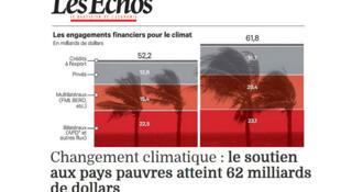 Artigo do jornal francês Les Echos sobre investimento  dos países mais pobres para combater os fenômenos climáticos.