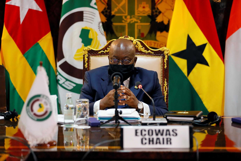 Le président ghanéen Nana Akufo-Addo, à la tête de la présidente tournante de la Cédéao, le 15 septembre 2020 à Accra.