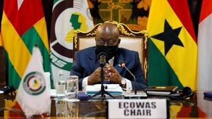 Ghanaian President Nana Akufo-Addo, who is also the current ECOWAS president, on 15 September 2020 in Accra.