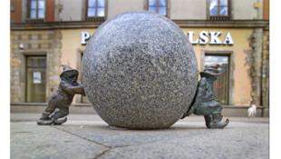 Premiers lutins de la ville de Wroclaw, Pologne.