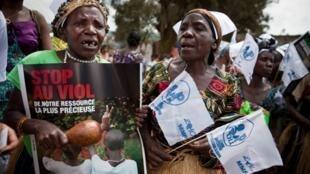 Une Congolaise participant à la Marche internationale des femmes à Bukavu en RDC, le 17 octobre 2010.